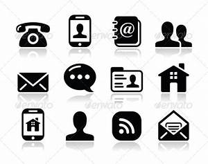 GraphicRiver Contact Black Icons Set Mobile User Email