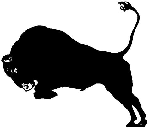 charging bull silhouette images pictures becuo