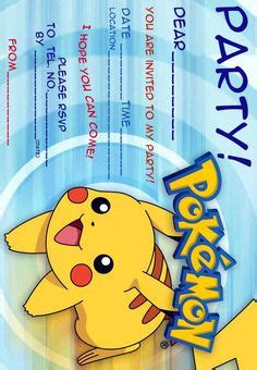 pokemon invitation  printable pokemon birthday
