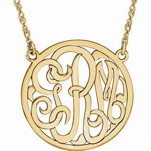15mm 3 Letter Script Monogram Necklace In 14K Yellow Gold