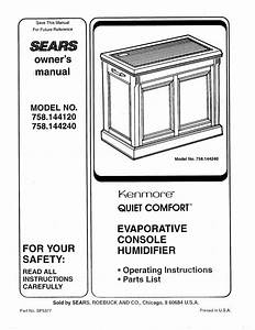 Sears Kenmore Quiet Comfort 758 144120 User Manual