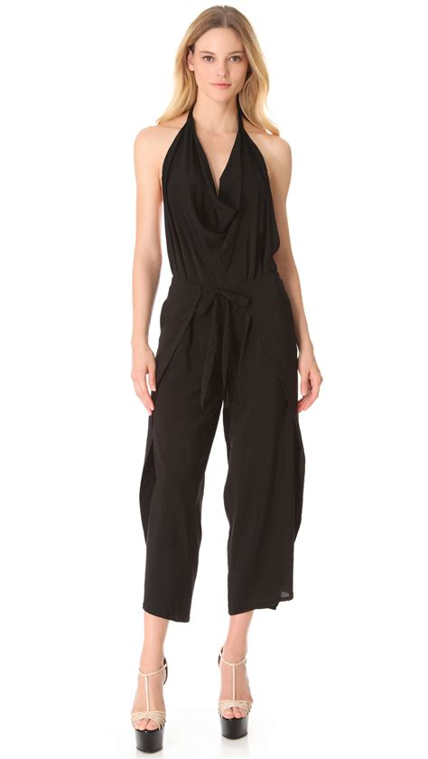 wrap jumpsuit donna karan york halter wrap jumpsuit in black lyst