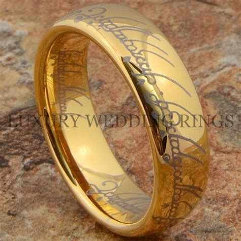 lord the ring gold tungsten wedding band lotr s big power jewelry size 6 13 ebay