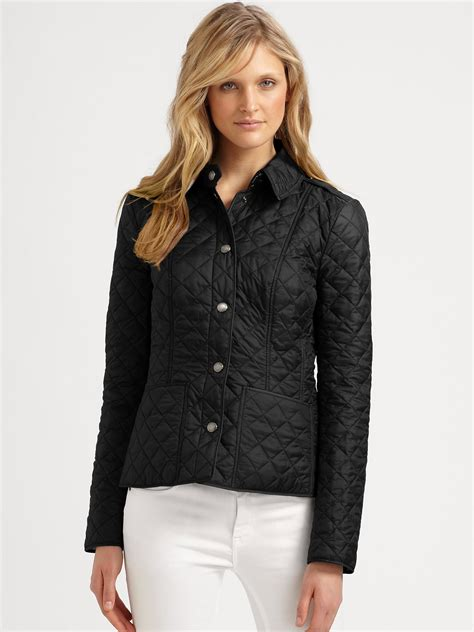 burberry quilted jacket womens burberry kencott quilted jacket in black lyst