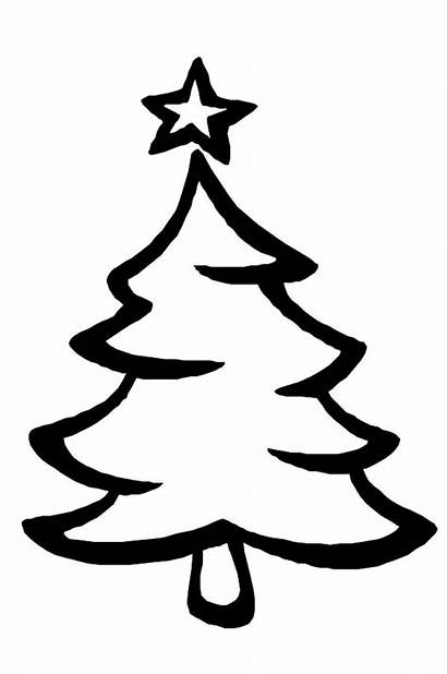 Tree Christmas Drawing Coloring Trees Pages Easy