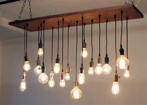 edison light chandelier mooie l gemaakt oud hout en eenvoudige peertjes