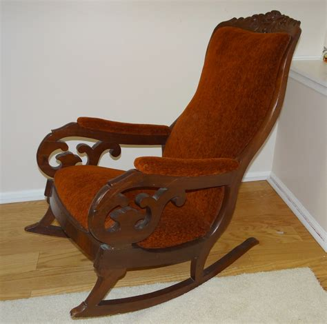 antique mahogany upholstered rocking chair lincoln rocker