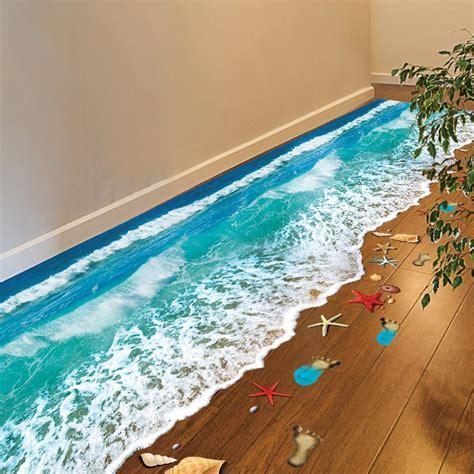 Romantic Sea Beach Floor Sticker 3D Simulation Beach Home