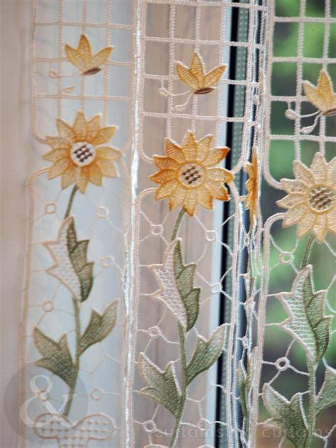 sunflower macrame yellow white cafe net panel kitchen accessories uk