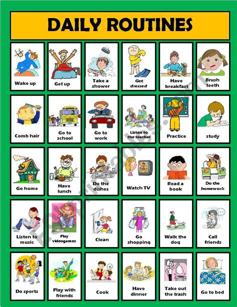 daily routine activities editable esl worksheet