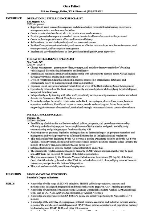 Intelligence Specialist Resume Samples | Velvet Jobs