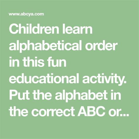 You can use it to sort lists of words, titles, names, numbers or any other type of content. Children learn alphabetical order in this fun educational ...