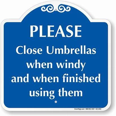 Close Finished Umbrellas Windy Using Pool 1263
