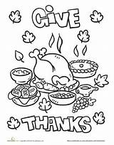 Thanksgiving Coloring Dinner Feast Worksheet Thanks Worksheets Education Give Preschool Turkey Kindergarten Printable Crafts Holiday Activity Children Writing Sheets Activities sketch template