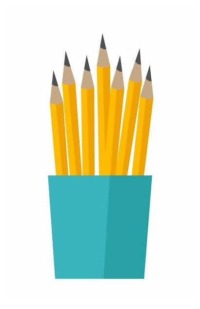 Cup Pencils Clip Bunch Orange Vector Illustration