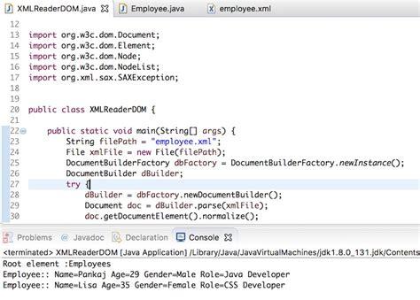 read xml file  java dom parser journaldev
