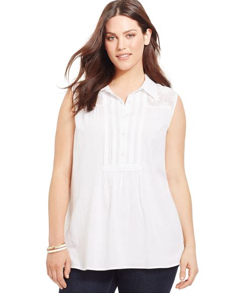 plus size lace blouse style co plus size sleeveless lace shoulder blouse in