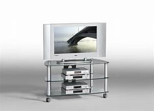Meuble Cache Tv : meuble tv a roulettes en verre solutions pour la ~ Premium-room.com Idées de Décoration