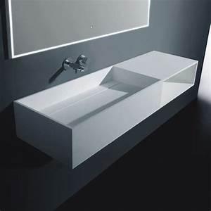 Meuble Salle De Bain Suspendu : meuble salle de bain suspendu 120x40 cm composite blanc ~ Melissatoandfro.com Idées de Décoration