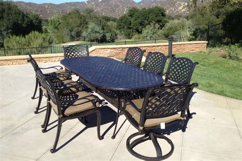 patio dining set 9pc cast aluminum luxury outdoor