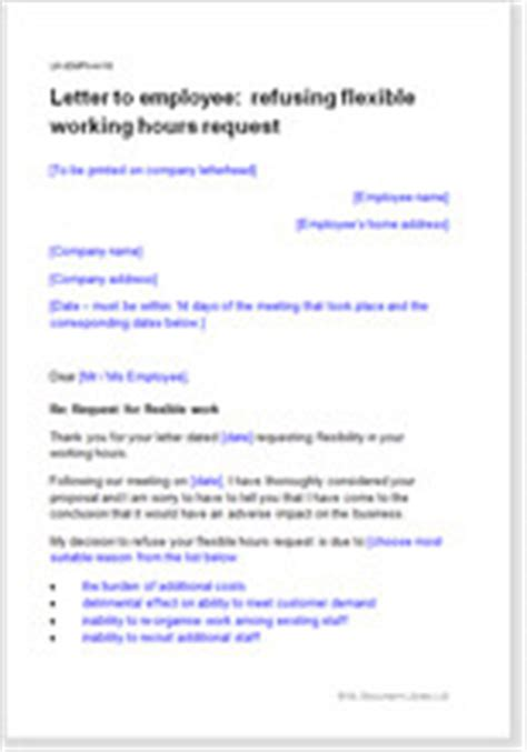 model letter refusing flexible working hours request