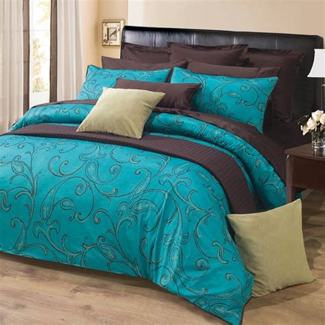 quilted duvet cover pattern 3pc turquoise brown paisley design 300tc cotton duvet