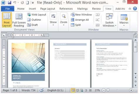 microsoft word report templates free annual report template for word with cover photo