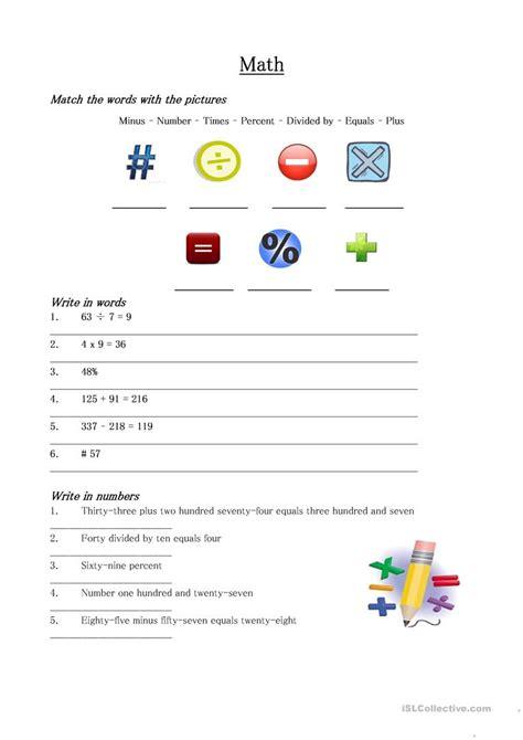 Math Vocabulary Worksheet Worksheet  Free Esl Printable Worksheets Made By Teachers