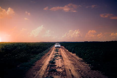 images car clouds countryside crops dusk