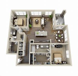 10 awesome two bedroom apartment 3d floor plans for Two bedroom apartment floor plans