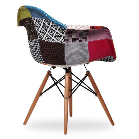 chaise eames patchwork chaise wooden arms patchwork edition chaises icon