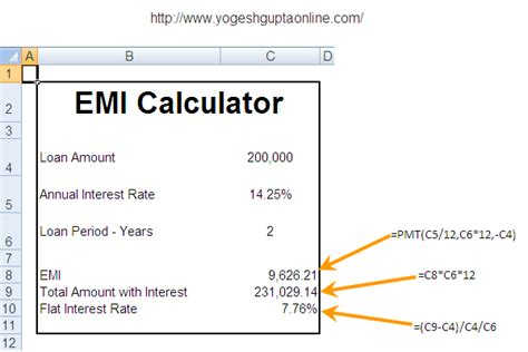 emi calculator yogesh gupta s excel tips
