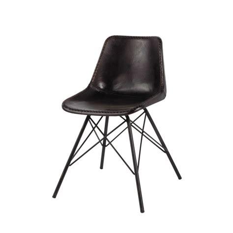 chaise indus en cuir  metal noire austerlitz maisons du monde