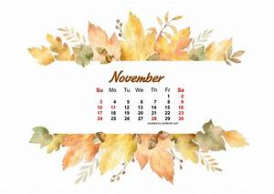 Watercolor Leaf Dried November 2019 Calendar Picture ...