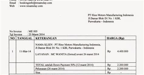 Invoice Contoh by Contoh Invoice Atau Quotation