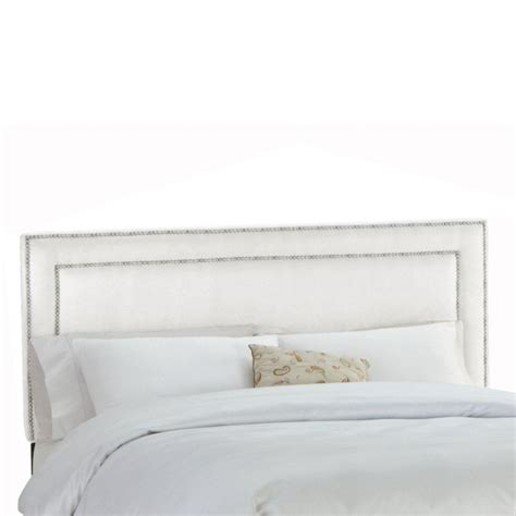 twin inset nail button headboard in groupie praline with