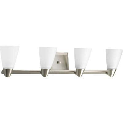 Bathroom Light Fixtures Brushed Nickel Home Depot by Progress Lighting Rizu Collection 4 Light Brushed Nickel