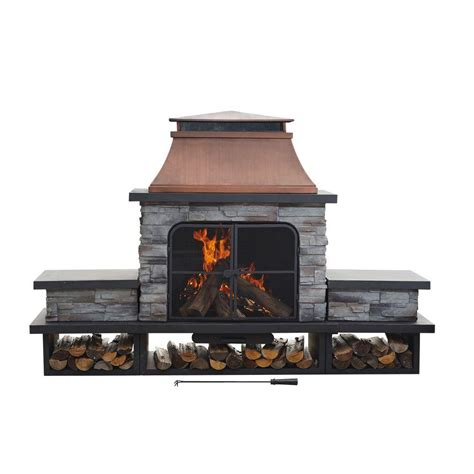 Sunjoy Seneca 51 In Wood Burning Outdoor Fireplacel