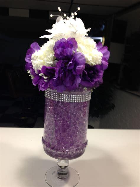 wedding centerpiece  purple water beads metallic