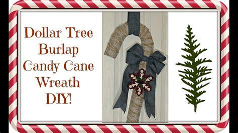 dollar tree  burlap candy cane wreath diy christmas