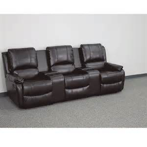 brown leather pillowtop 3 seater home theater reclining chairs
