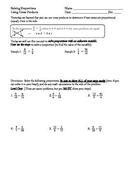 solving proportions using cross products differentiated