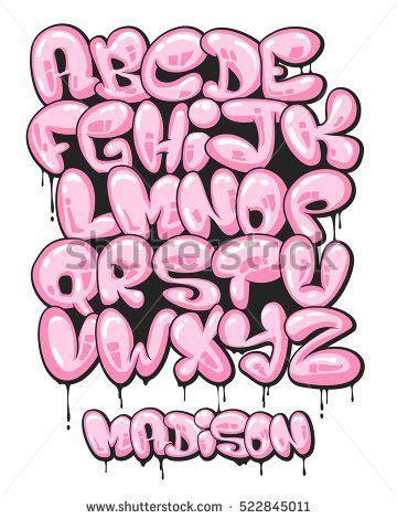 graffiti bubble shaped alphabet set grafitti