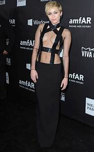 Miley Cyrus Hit The AmfAR Red Carpet In A Dress Without A
