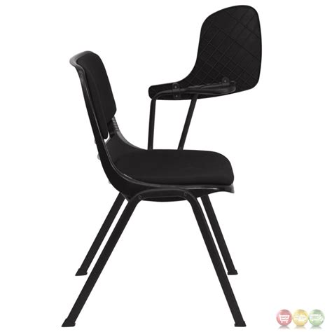 padded black ergonomic shell chair with left handed flip