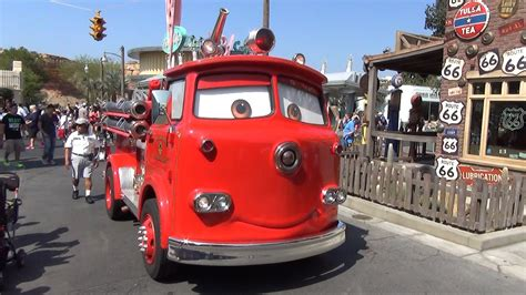 A Detailed Look At Red The Fire Truck In Cars Land, Disney