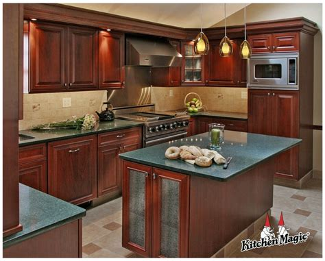 fireside cherry wood cabinets quartz countertop