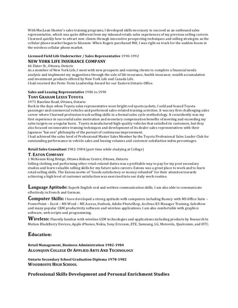 Outbound Sales Representative Resume by Resume July 29 2010 Robert Vogelsang Territory Sales And