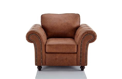 Oakland Faux Leather Armchair In Brown