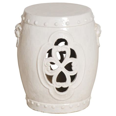white pierced clover ceramic asian garden stool kathy